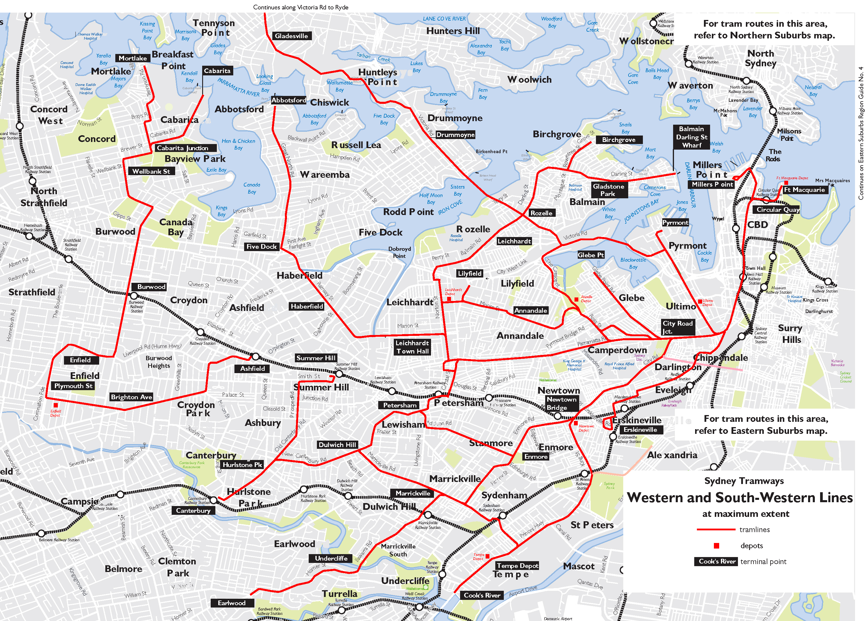 Map Showing Trams In The West And Southwest Of Sydney At