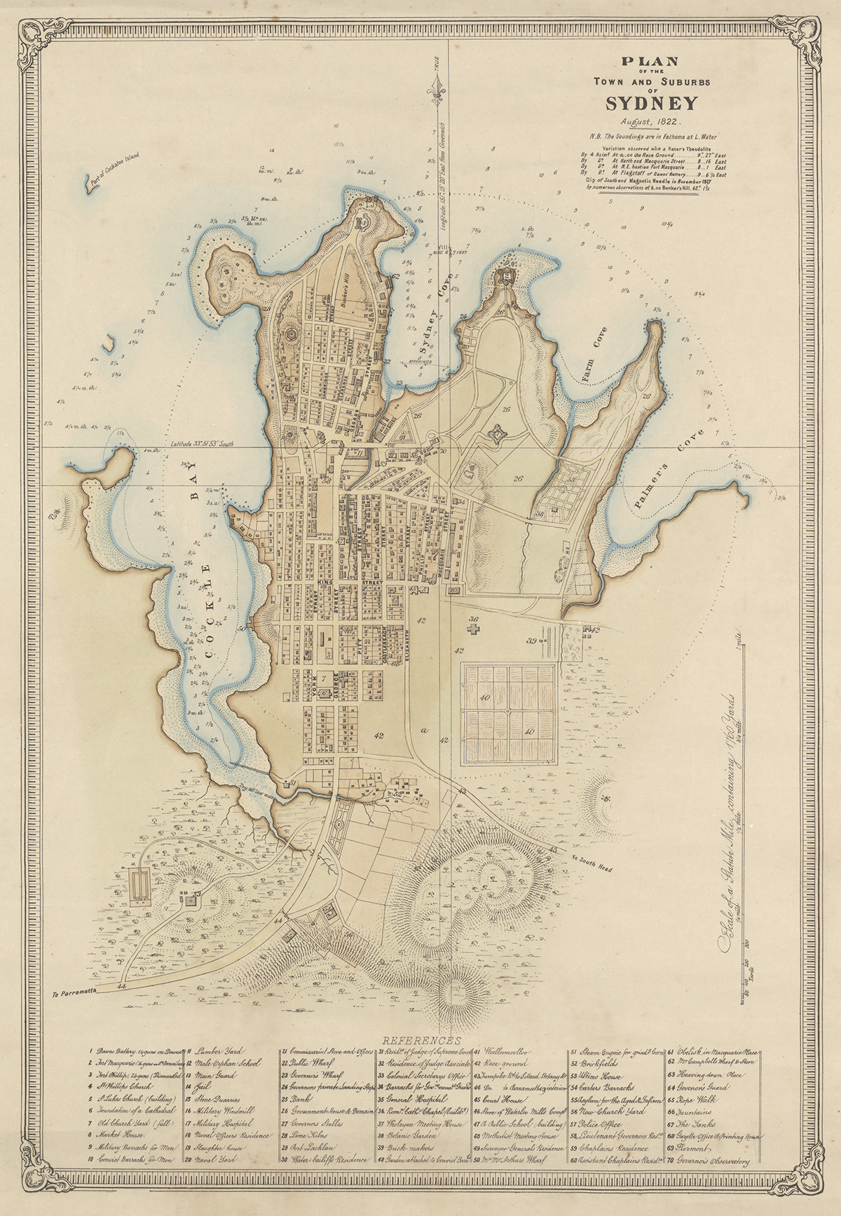 Plan of the town and suburbs of Sydney, August 1822